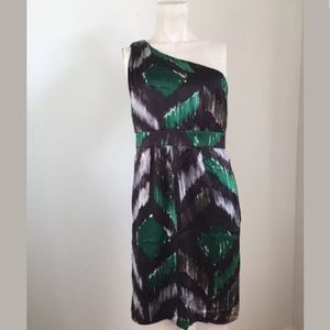 NWOT Tibi One Shoulder Green Black Dress